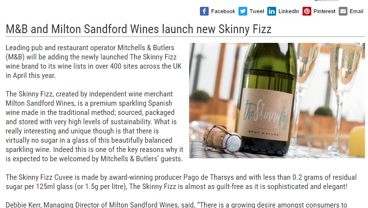 The Skinny Fizz in Food Service News