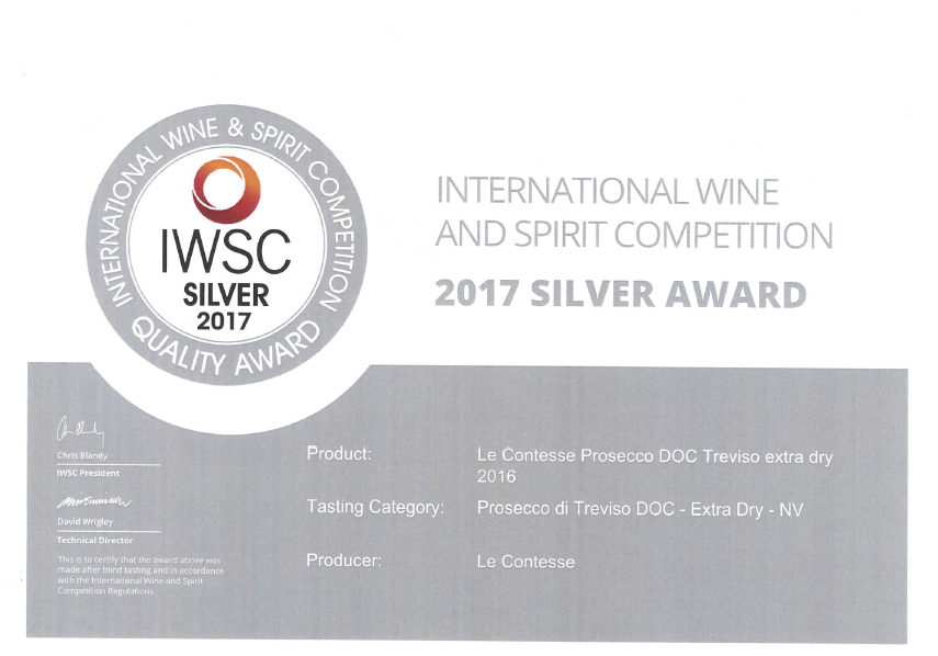 Le Contesse Extra Dry Prosecco Wins a Silver Medal
