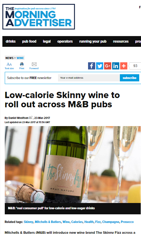 The Skinny Fizz in the Morning Advertiser