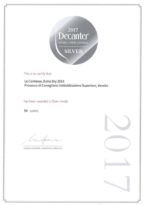 Silver Medal for Le Contesse Prosecco